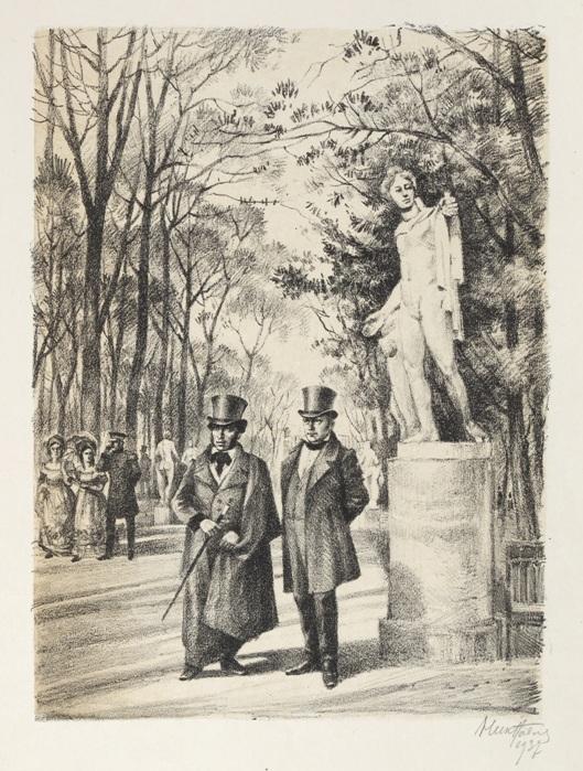 А.С. Пушкин и В.А. Жуковский в Летнем саду