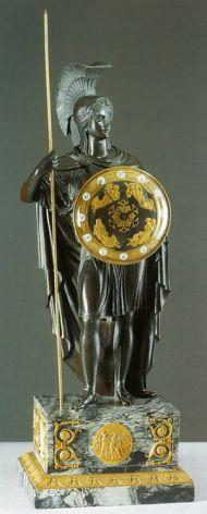Часы каминные Афина Паллада. Франция. Бронза, золочение, мрамор. Начало XIX века.