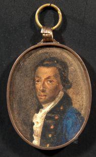 Неизвестный художник с оригинала 1780-х. И.А. Ганнибал. Третья четверть XIX в. Картон, акварель, гуашь, лак.