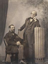 К.А. Бергнер. Портрет М.П. Погодина и И.Ф. Мамонтова. Москва. 1850-е. Отпечаток на солёной бумаге, акварель, лак