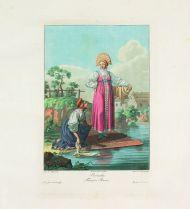 Е.М. Корнеев. Россиянки. 1812. Гравировал И. Ламини. Офорт, акватинта, цветная печать.