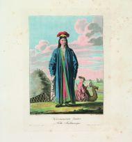 Е.М. Корнеев. Калмыцкая девушка. 1813. Гравировал Е. Скотников. Офорт, акватинта, цветная печать.