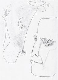Понтий Пилат с догом. 1968. Иллюстрация к роману М.А. Булгакова «Мастер и Маргарита». Монотипия. 29,5 х 20,3. Инв. 19153.