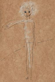 Маленький Принц в пустыне.  1966. Иллюстрация к книге А. де Сент-Экзепюри «Маленький Принц». Цветная бумага, тушь, перо, пастель.  27,0 х 17,0. Инв. 19640.