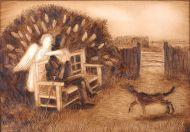Пушкин и муза. Лист из серии «Александру Сергеевичу хорошо!». И.Д. Шаймарданов. 2009