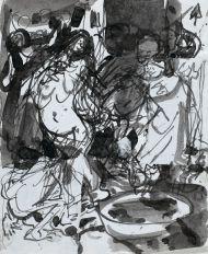Эскиз иллюстрации к стихотворению Ф.Вийона «Баллада о Толстухе Марго». 1990-е. Бумага, чернила. 17,9 х 14,6
