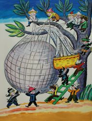 Калаушин Б.М. (1929-1999). Эскиз иллюстрации к книге Н. Носова «Как Знайка придумал воздушный шар». 1983. М. Радуга, 1984. Бумага, гуашь, акварель, тушь, карандаш.