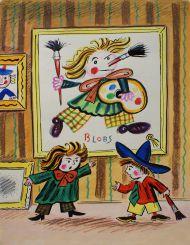 Калаушин Б.М. (1929-1999). Эскиз иллюстрации к книге Н. Носова «Как Незнайка был художником». 1982.