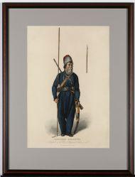 Гравюра в раме. А. Фреши  «Донской казак  А.Г. Землянухин».1813 г. Бумага, печать, акварель.