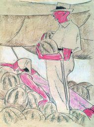 Арбузы. 1979. Бумага, цветной карандаш.