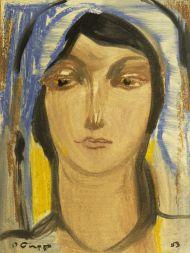 Ростислав Барто.  Женский образ. 1953. Бумага, темпера. 39х 29,5 см