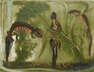 Ростислав Барто. Тритоны. 1966. Бумага, монотипия. 27,7х 36; 37х 50 см