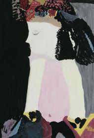 Зинаида Бабина. Девушка в шляпе с цветами нач. 90-х бум. темпера