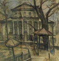 Е. Куманьков. Детская площадка в Денежном переулке.1971 г. Бумга, графитный и цветные карандаши.