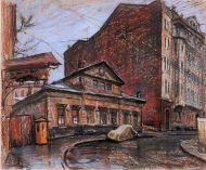 Е. Куманьков. Кривоарбатский переулок. 1963 г. Бумага, пастель.