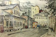 Е. Куманьков. Малый Николопесковский переулок. 1971 г. Бумага, графитный карандаш.