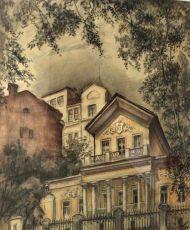 Е. Куманьков. В Чистом переулке. 1992 г. Бумага, цветной карандаш.