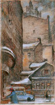 Е. Куманьков. В Плотников переулке (здесь будет памятник Окуджаве). 2001 г. Бумага, пастель.