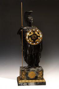 Часы каминные с фигурой Афины. Начало XIX в. Франция. Бронза, серый мрамор. Золочение, патинирование. 92 х 30,5 х 22,5
