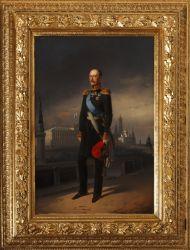 Ботман Е.И. Николай I на фоне Московского кремля. 1856.  Холст, масло. 90х60; прямоугольник.