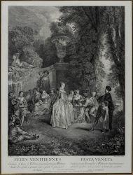 Л.Карс по живописному оригиналу Ж.-А. Ватто, 1718-19 г. Венецианский праздник. 1732 г. Офорт, резец.