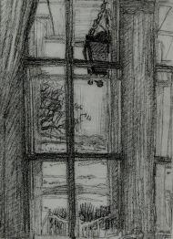 Антонова Л.Л. Михайловское. Окно. Фонарь. 2009 г. Бумага, масляная пастель.
