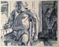 В. Куцевич.  Сидящий. 1999. Бумага, акварель