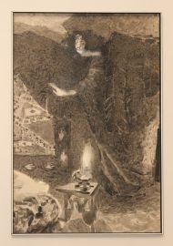 М.Врубель. Эскиз к поэме -Демон- М.Ю. Лермонтова. 1890-1900-е. Бумага, черная акварель, белила.