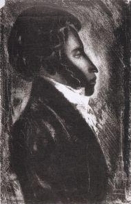 Анатолий Давыдов. А.С.Пушкин. 1980. Б. автолитограф.
