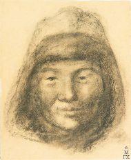 Д.В. Мирлас. Портрет казахского мальчика из Караганды. 1933 г. Бумага, уголь