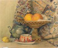 Е.М. Ануфриева. Апельсины,чайник.1954 г. Бумага, акварель