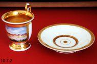 Чашка с блюдцем с мотивом Дюссельдорфа,  около 1860 г. Фарфор.