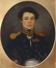 Неизвестный художник.  Портрет М.И. Озерова. Около 1815. Холст, масло.
