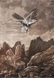 Том Филлипс. Ад, песнь XXIX, Летающий человек: подражание природе. Сериграфия, бумага, 76,5х54,5 см