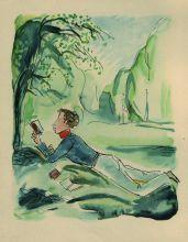 Пушкин в садах Лицея. 1930-е. Бумага, цветная офсетная печать.