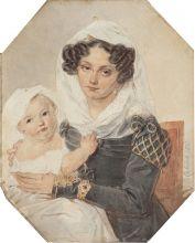 Портрет княгини М.Н. Волконской с сыном Николаем